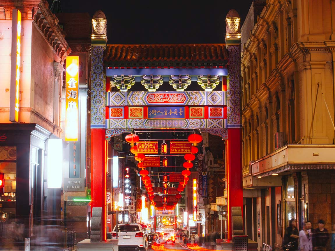 Chinatown at night, Melbourne, Victoria, Australia