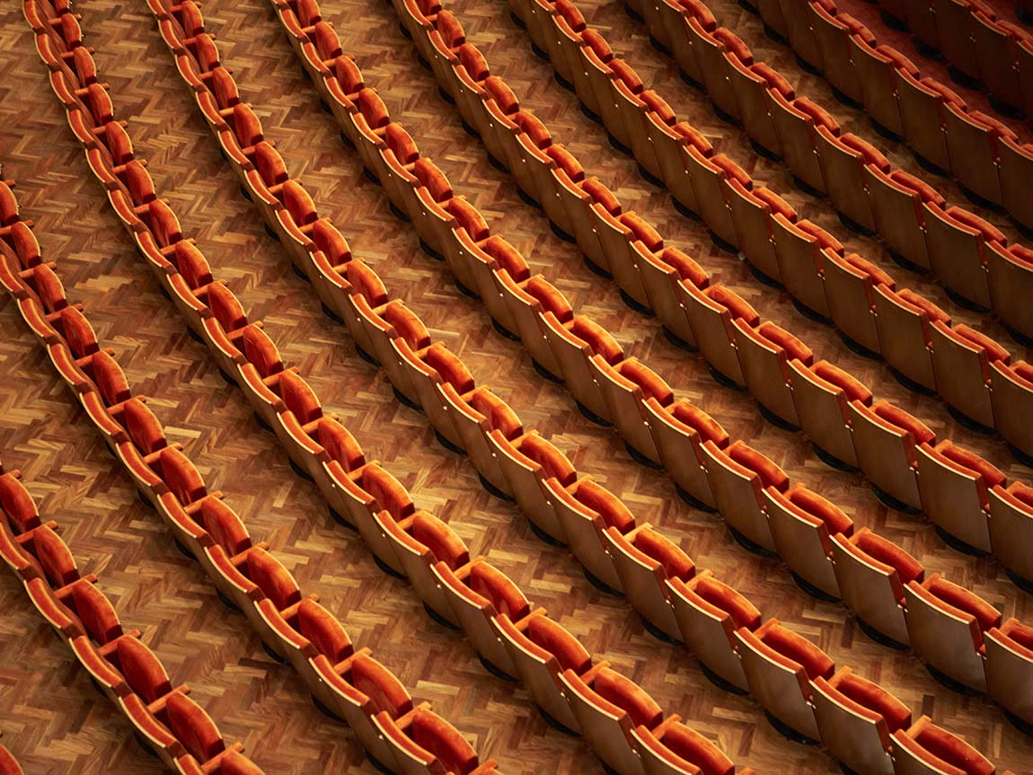 Hamer Hall seats, Arts Centre Melbourne, Melbourne, Victoria, Australia