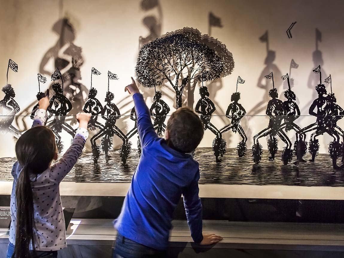 Children discovering First Peoples at Bunjilaka Aboriginal Cultural Centre, Melbourne Museum, Melbourne, Victoria, Australia