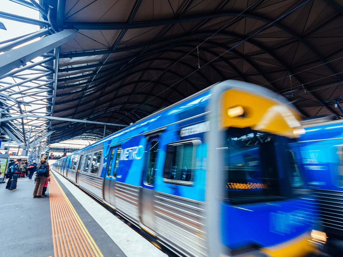 Train at Southern Cross Station, Melbourne, Victoria, Australia