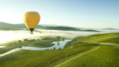Hot air ballooning over the Yarra Valley, Victoria, Australia
